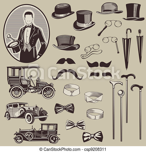 Gentlemen's Accessories and Old Cars - vector set- High Quality - csp9208311