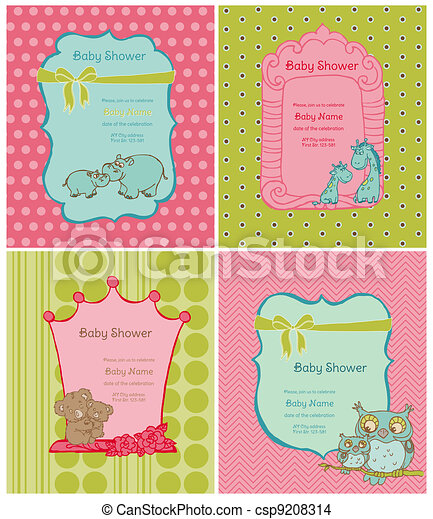 Set of Baby Shower Cards with place for your text in vector - csp9208314