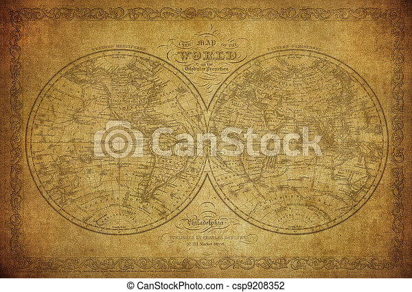 vintage map of the world 1856