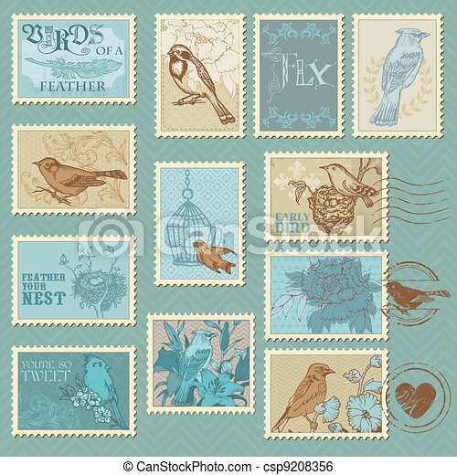 Retro Bird Postage Stamps - for design, invitation, congratulation, scrapbook - csp9208356
