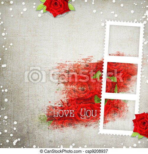 retro background with hearts, text I love you, red roses - csp9208937