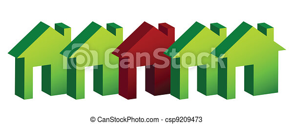 row of houses illustration design  - csp9209473