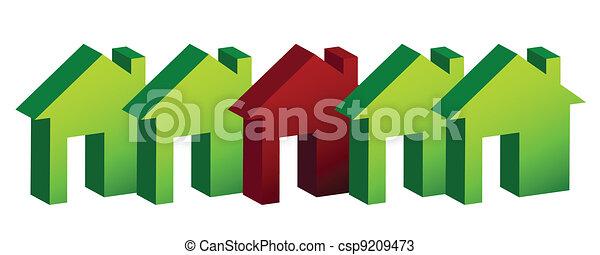 row of houses illustration design  - csp9209473