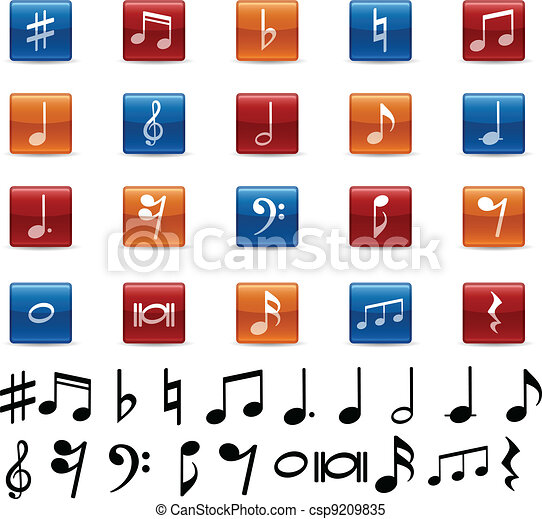 Clipart Vector of Music notes and symbols icons. csp9209835 ...