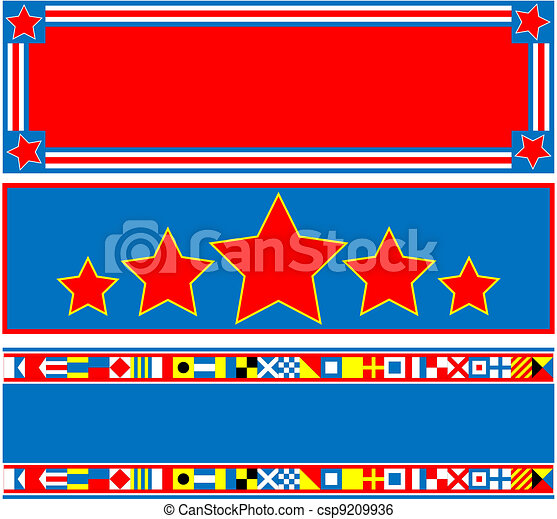 3 Red White Blue Banner - csp9209936
