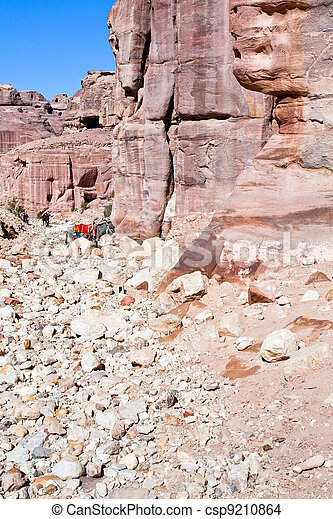 ruins of ancient city Petra and bedouin donkey - csp9210864