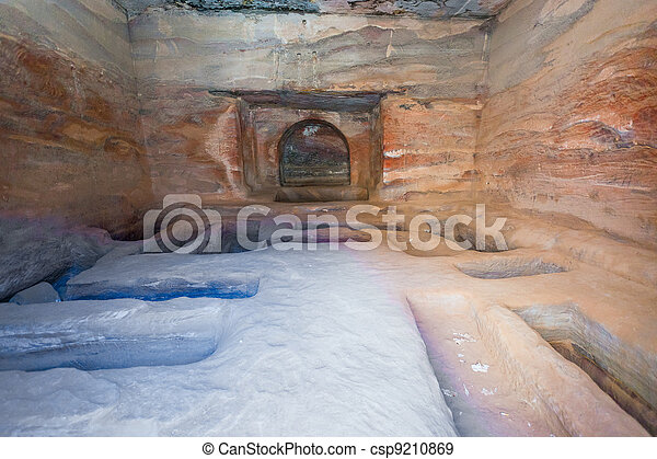 interior of ancient tomb or dwelling in sandstone cave in Petra - csp9210869
