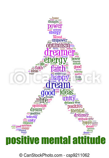 PMA Word Cloud Concept great terms such as Positive Mental Attitude, empower, faith, dream, brain on man walking - csp9211062
