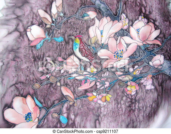 Painting with bird and pink magnolia tree. - csp9211107