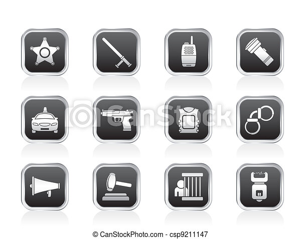 law, order, police and crime icons - csp9211147