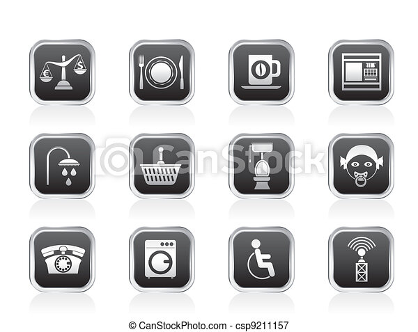 Roadside, hotel and motel icons - csp9211157