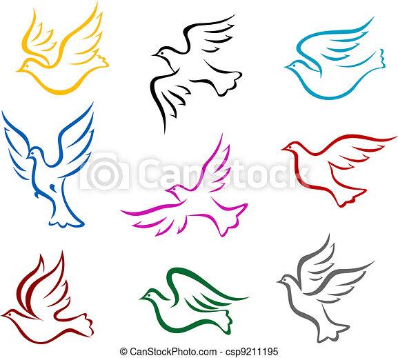 Tauben und tauben symbol satz für frieden oder wedding