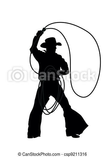cowboy vector silhouettes - csp9211316
