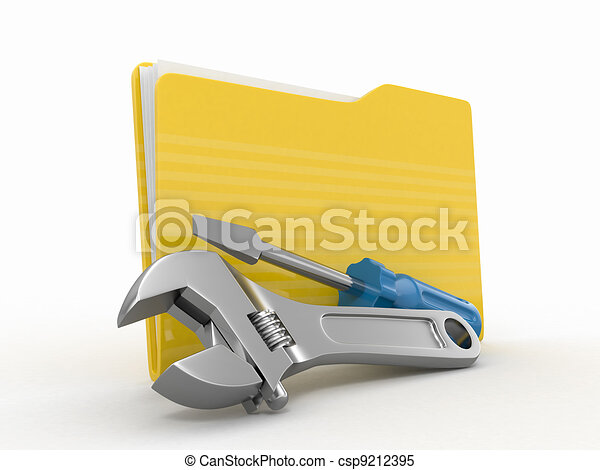 Stock Illustrations of Folder and tools. 3d - Folder and ...