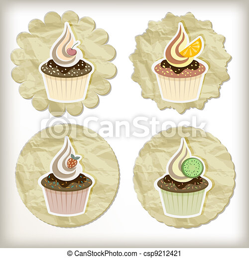 vector set of cupcakes on golden napkins - csp9212421