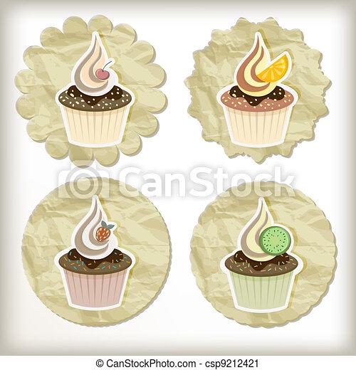 vector set of cupcakes on golden napkins - csp9212421