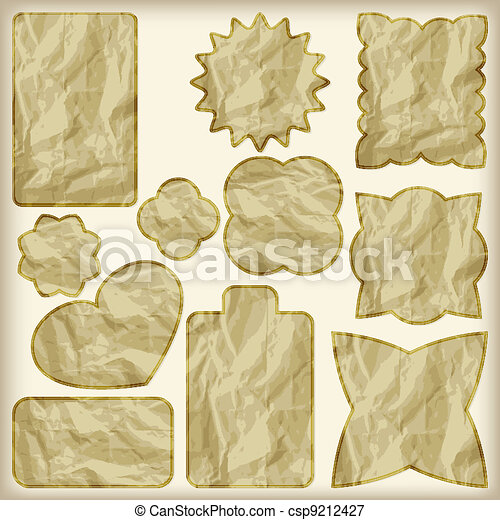 set of foil cut golden shiny vintage tags, crumpled paper texture - csp9212427
