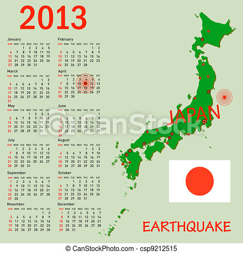 Calendar Japan map with danger on an atomic power station for 2013. Week starts on Sunday. - csp9212515