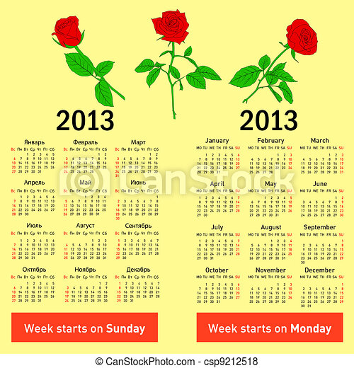 Stylish  calendar with flowers  for 2013. In Russian and English. - csp9212518