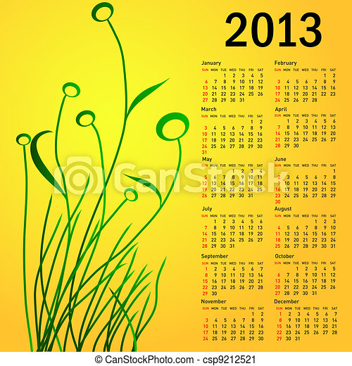 Stylish calendar with flowers for 2013. Week starts on Sunday. - csp9212521