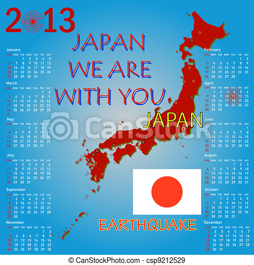 Calendar Japan map with danger on an atomic power station for 2013. Week starts on Sunday. - csp9212529