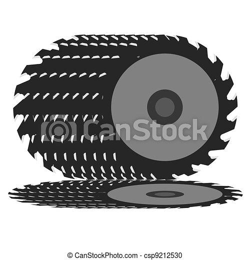 Circular saw blade on a white background.  - csp9212530