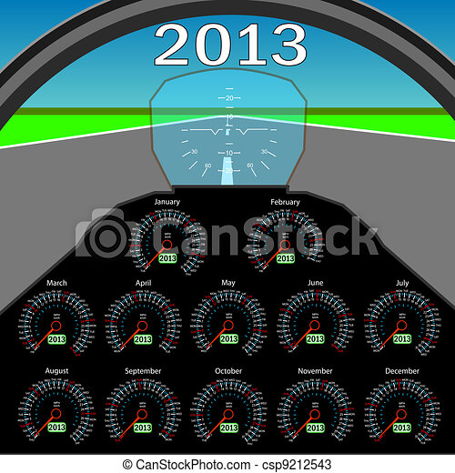 Stylish calendar  in the form of instruments in the cockpit for 2013.  - csp9212543