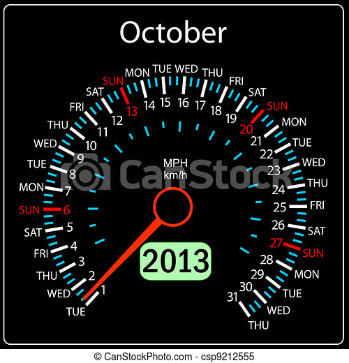 2013 year calendar speedometer car in vector. October. - csp9212555