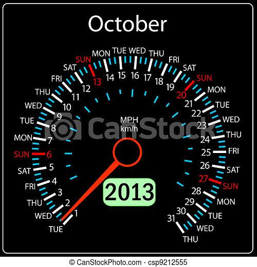 2013 year calendar speedometer car in vector. October. - csp9212555