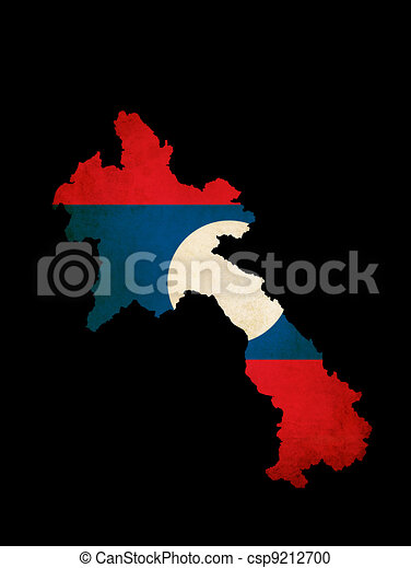 Laos outline map with grunge flag - csp9212700