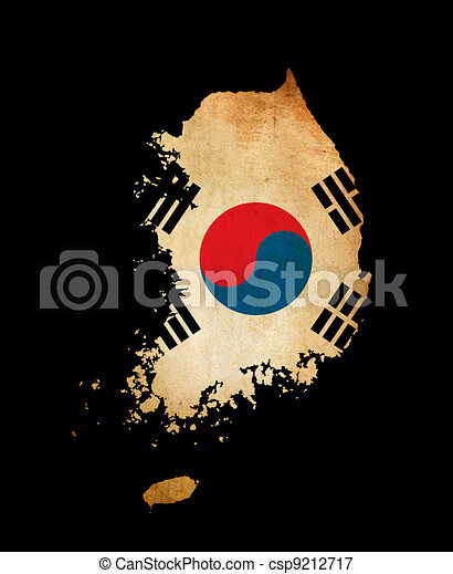 South Korea outline map with grunge flag - csp9212717