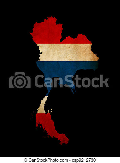Thailand outline map with grunge flag - csp9212730
