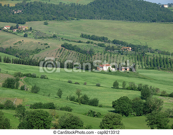 The beautiful landscape of Tuscany. View of the hills between Montepulciano and Pienza - csp9213312