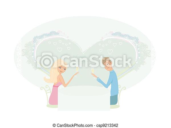 Young couple flirt  - csp9213342