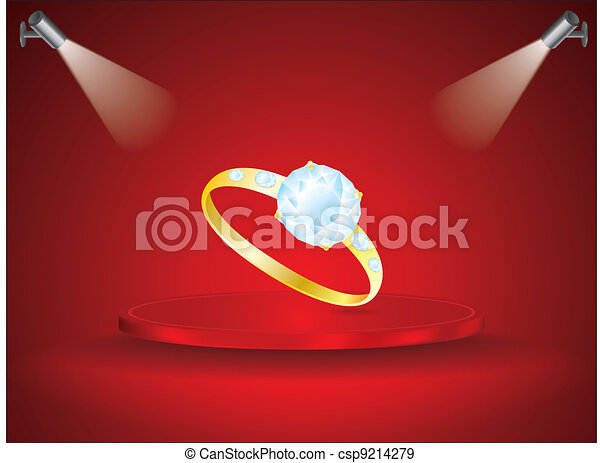 diamond ring on red field - csp9214279
