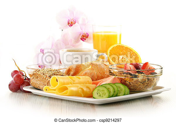Breakfast with coffee, rolls, egg, orange juice, muesli and cheese - csp9214297