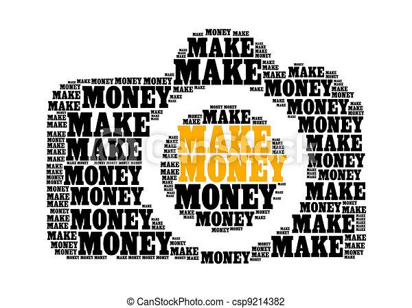 make money text on dslr camera graphic and arrangement concept - csp9214382