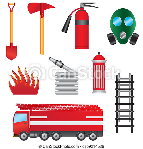 set of fire prevention objects. - csp9214529