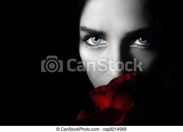 Woman with rose  - csp9214569