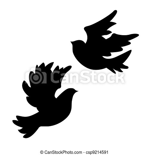 White Doves Drawings Dove Silhouette on White