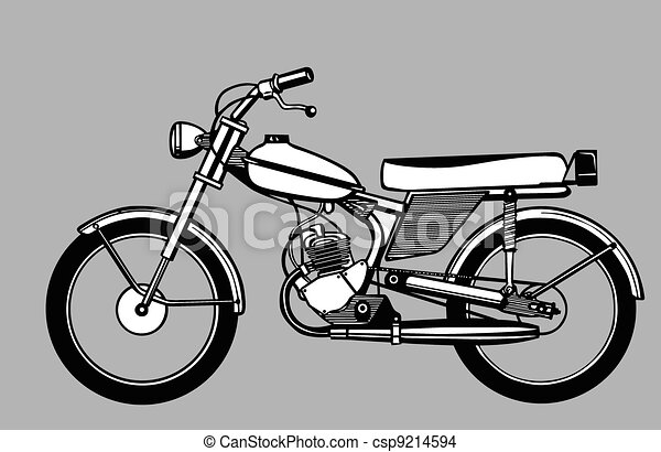 moped silhouette on gray background,  - csp9214594