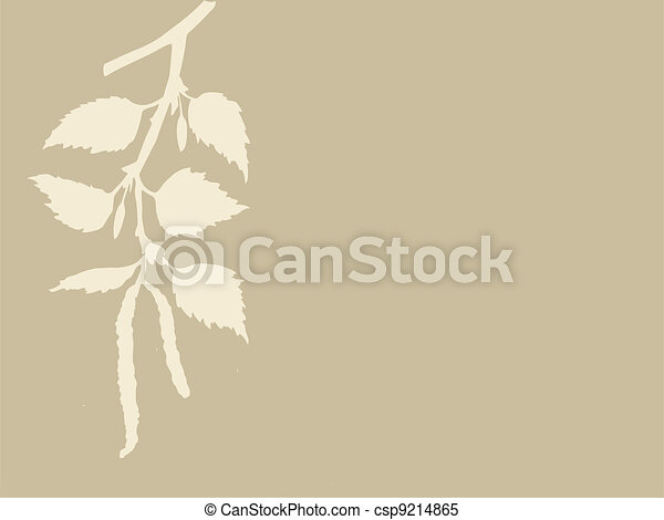 birch branch on brown background, vector illustration - csp9214865