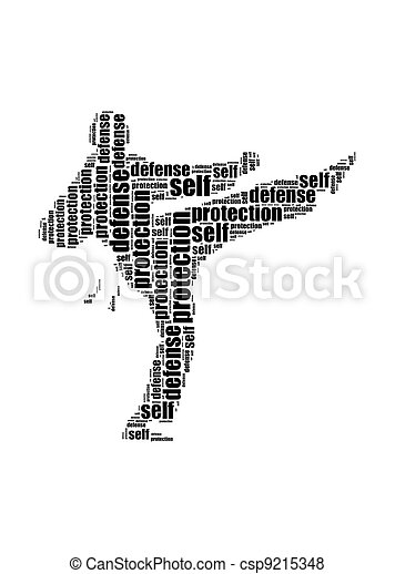 self defence and protection text kick graphic and arrangement concept - csp9215348