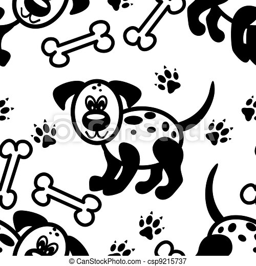 Seamless cute cartoon dog pattern - csp9215737