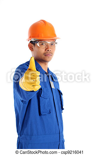 Thumbs up worker with a safety helmet , isolated on white - csp9216041