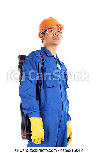 young asian engineer with drawings case and complete personal protective equipment standing isolated on white background - csp9216042