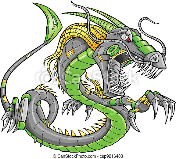 Green Robot Cyborg Dragon Vector - csp9216483