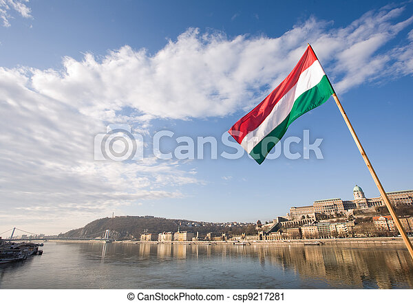 The Hungarian flag over river Danube. - csp9217281