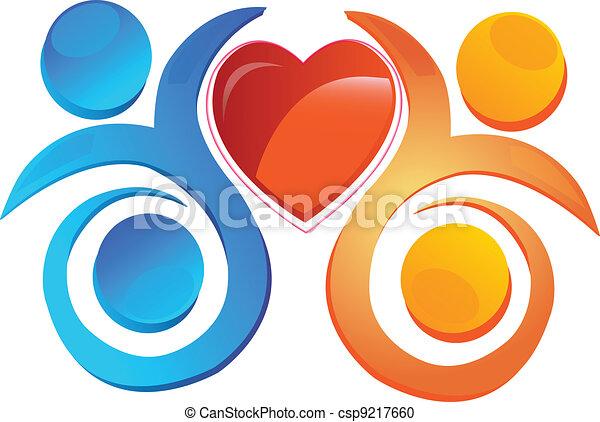 Team with a heart  logo - csp9217660