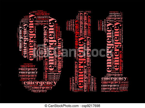 emergency info-text graphic and arrangement concept on 911 shape - csp9217698